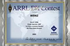 2003-W5WZ-ARRL-DX-CW