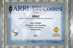 2017-K8AZ-ARRL-DX-PHONE